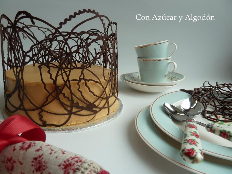 Tarta de Chocolate y Toffe con enrejado de Chocolate